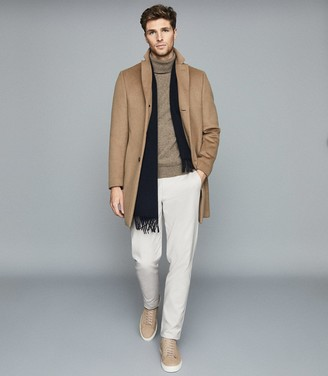 Reiss Monty - Wool Cashmere Blend Rollneck Jumper in Taupe