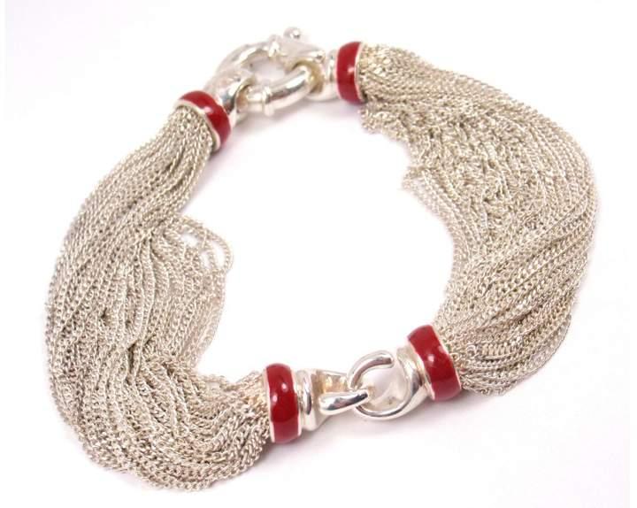 Tiffany & Co. Sterling Silver Red Enamel Lifesaver Mesh Bracelet