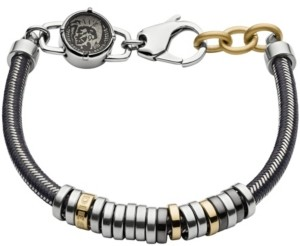 Diesel Men's Stainless Steel and Gray Nylon Cord Bracelet