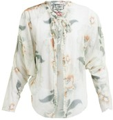 By Walid Iris Floral-print Cotton-tulle Jacket - Womens - Ivory Multi