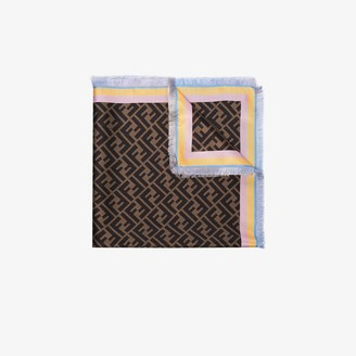 Fendi brown FF logo silk scarf