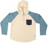 Something Strong Cream & Blue Hooded Henley - Toddler & Boys