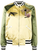Valentino Tropical Dream appliquéd bomber jacket - women - Silk/Cotton/Polyester/Viscose - 38