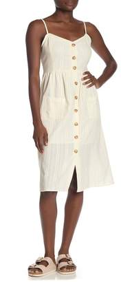 Cotton On Beth Striped Button Patch Pocket Midi Dress