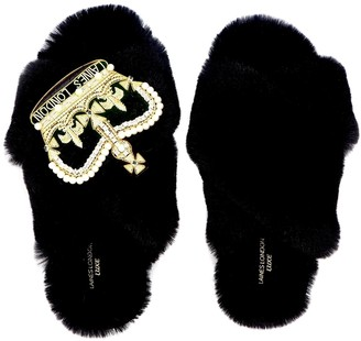 Laines London Laines Luxe Fluffy Black Slippers With Deluxe Crown Brooch