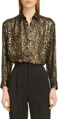 Saint Laurent Metallic Burnout Leopard Shirt