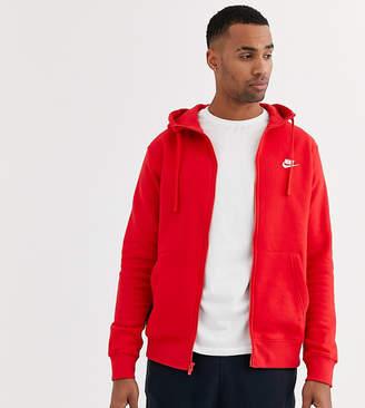 Nike Tall Club zip-through hoodie in red