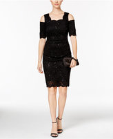 R & M Richards Sequined Lace Cold-Shoulder Sheath Dress