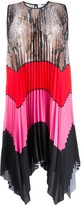 MSGM Snake-Print And Striped Pleated Dress