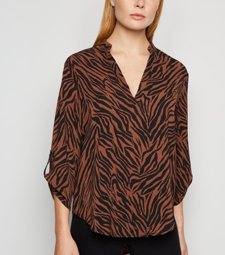 New Look Zebra Print Dip Hem Shirt