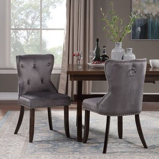 Canora Grey Landgraf Upholstered Wingback Side Chair Upholstery Color: Gray