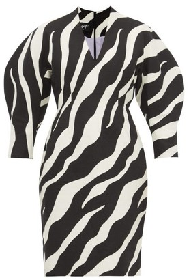 Elzinga - Balloon-sleeve Zebra-jacquard Dress - Black White