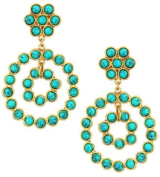 Sylvia Toledano Flower Candies 22K Goldplated & Turquoise Clip-On Drop Earrings