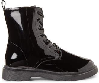 Wild Diva Black Pixie Patent Combat Boots