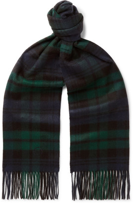 Kingsman + Johnstons Of Elgin Fringed Logo-Embroidered Checked Cashmere Scarf