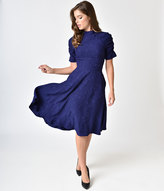Voodoo Vixen Deep Purple Jacquard Half Sleeve Maribelle Swing Dress