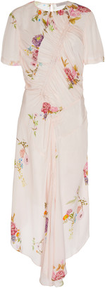 Preen Line Shae Ruched Floral-Print Crepe Midi Dress