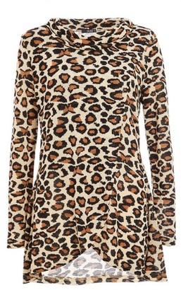 Dorothy Perkins Womens *Quiz Brown Leopard Print Cowl Neck Top, Brown