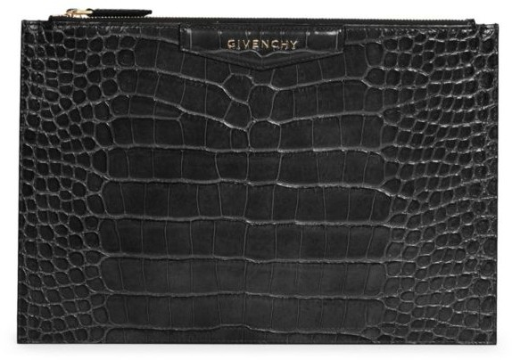 Givenchy Medium Croc-Embossed Leather Pouch