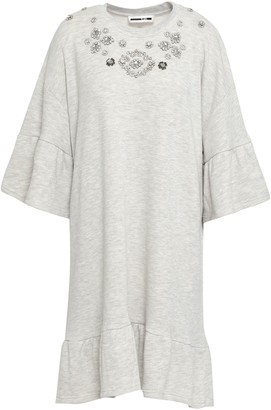 McQ Crystal-embellished French Cotton-blend Terry Mini Dress