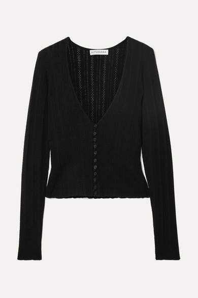 Altuzarra Pointelle-knit Wool And Cashmere Cardigan - Black