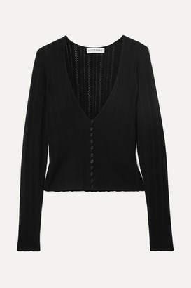 Altuzarra Pointelle-knit Wool And Cashmere Cardigan - Black