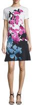 Escada Short-Sleeve Orchid-Print Colorblock Dress, Multi Colors