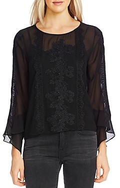 Vince Camuto Lace Trim Chiffon Top