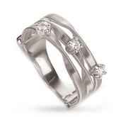Marco Bicego Marrakech Three Stone Brilliant Cut Diamond Ring in 18 Carat White Gold