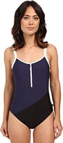 Nautica Women's Block and Tackle Soft Cup Zip Front One Piece Swimsuit