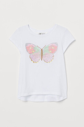 H&M Appliqued Jersey Top - White