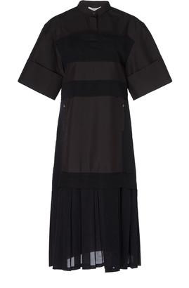 3.1 Phillip Lim Short Sleeve Multimedia Dress Sleeve With Pleated Hem