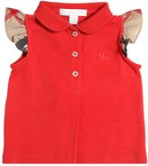 Burberry Cotton Piqué Polo Shirt W/ Check Ruffles