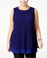 Alfani Plus Size Layered Knit Top, Only at Macy's