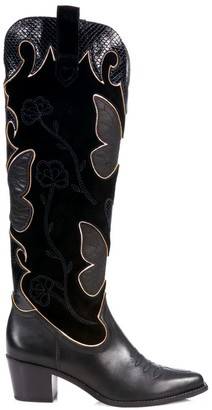 Sophia Webster Shelby Butterfly Knee-High Leather Cowboy Boots
