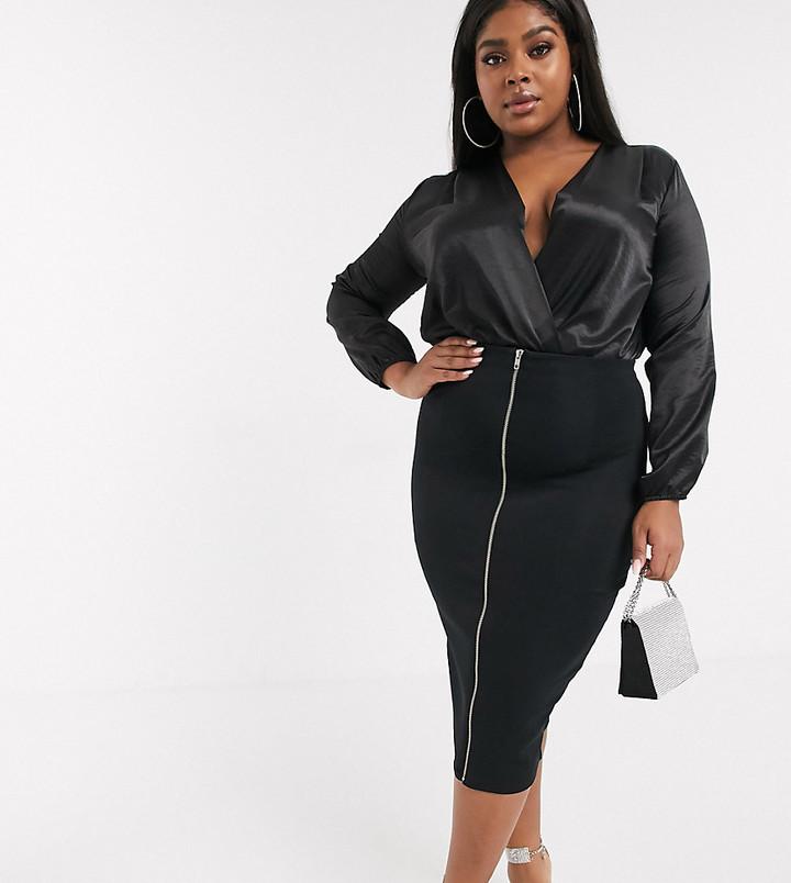 Asos DESIGN Curve sculpt high waist pencil skirt with zip front