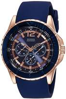 GUESS Men's Quartz Watch with Blue Dial Analogue Display and Brown Leather Bracelet W0485G1