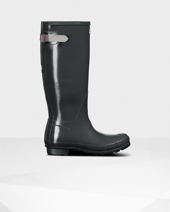 Hunter Women's Original Tall Back Adjustable Gloss Wellington Boots