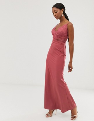 Little Mistress lace top fishtail maxi dress in dark coral-Pink