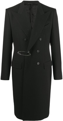 Givenchy Safety Pin-Embellished Double-Breasted Coat