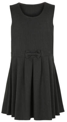 George Girls Grey Bow Detail Jersey School Pinafore Dress