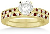 TheJewelryMaster Garnet and Diamond Engagement Ring Set 18k Yellow Gold (0.55ct) (No center stone included)