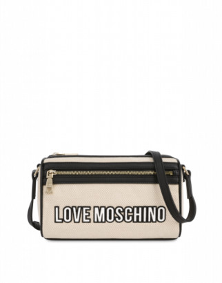 Love Moschino Canvas Shoulder Bag With Logo Woman Nude Size U It - (one Size Us)