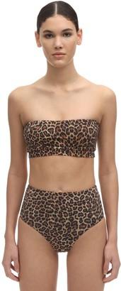 Anemos Leopard Print Bandeau Bikini Top