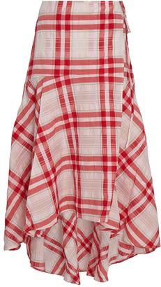 Ganni Seersucker Check Wrap Skirt