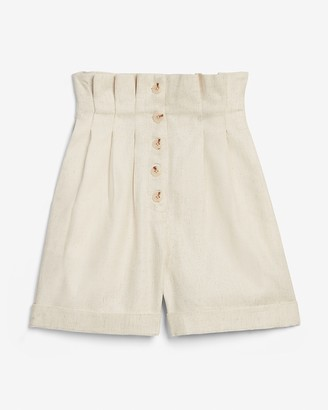 Express Super High Waisted Pleated Button Fly Shorts