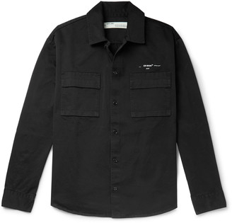 Off-White Oversized Logo-Print Cotton-Twill Shirt Jacket