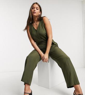 Vero Moda Curve jumpsuit with v neck in khaki