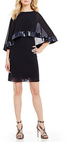 Vince Camuto Boat Neck Cape Overlay Sequin Trim Chiffon Gown