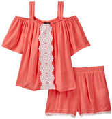 My Michelle mymichelle Cold Shoulder Top & Short Set (Big Girls)